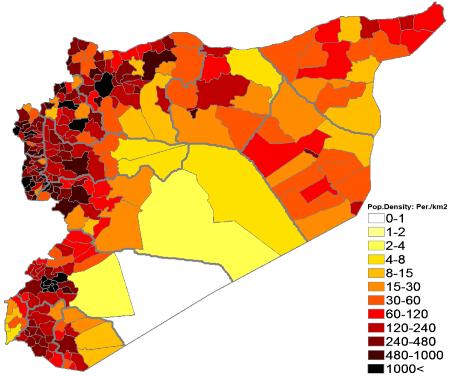 100 Population density (administrative boundaries) map of