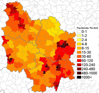 107Population density administrative boundaries map of Burgundy