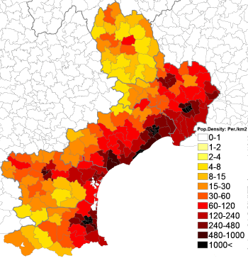 114Population density administrative boundaries map of Languedoc