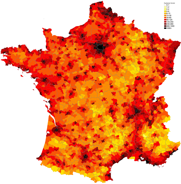 140Population density administrative boundaries map of France