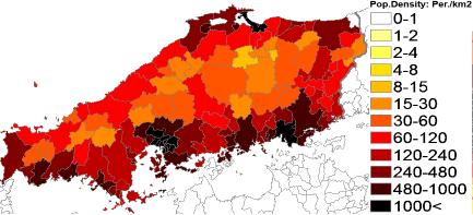 Population Density Administrative Boundaries Map Of Chūgoku - Japan map 2017