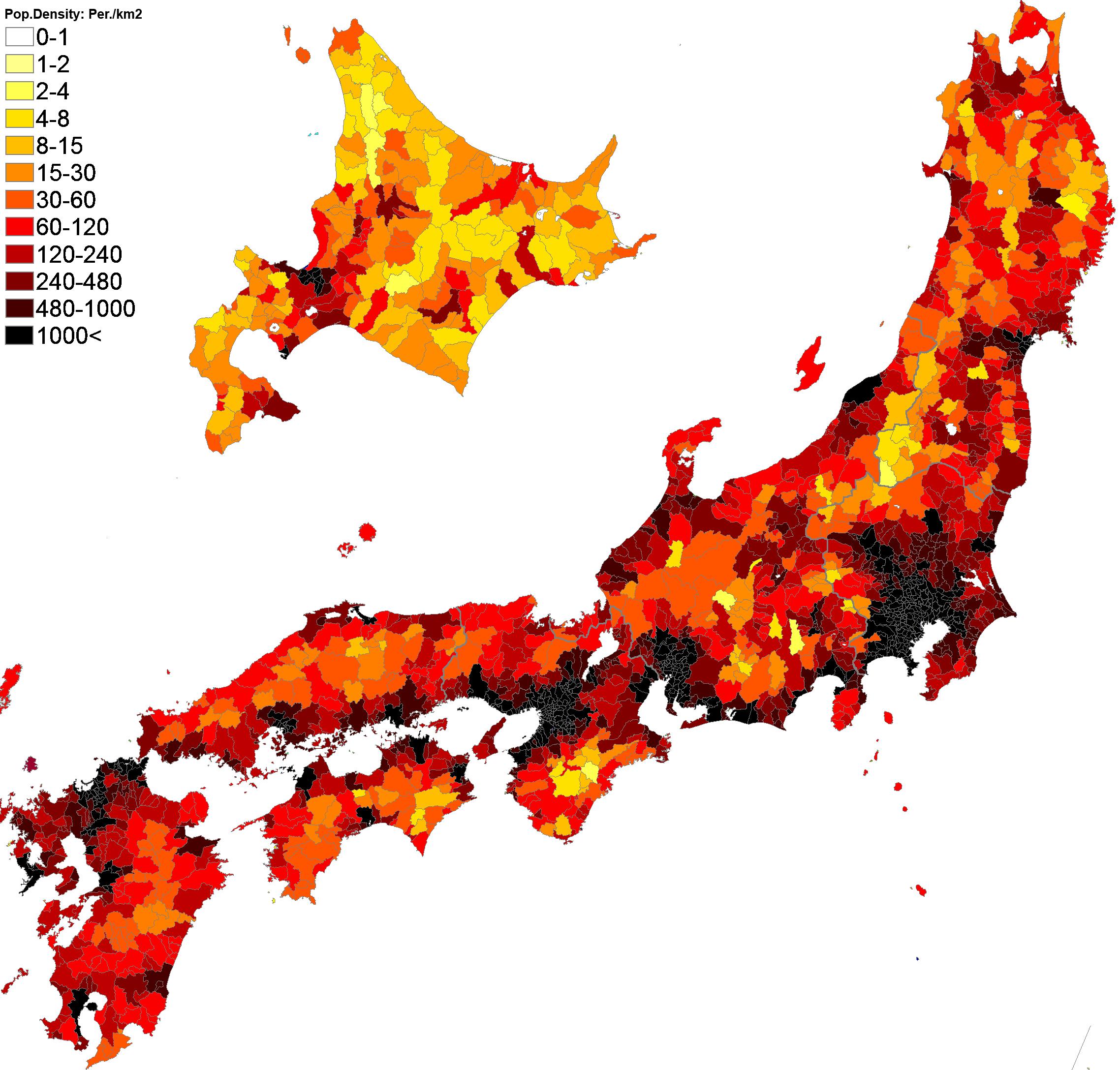 Population Density Administrative Boundaries Map Of Japan - Japan map 2017