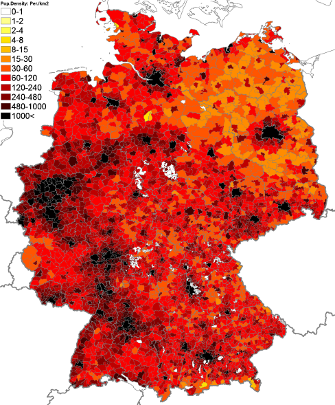 Population Density Administrative Boundaries Map Of Germany - Germany population map 2015
