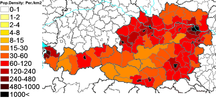 61Population density administrative boundaries map of Austria