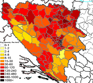 74Population density administrative boundaries map of Bosnia and